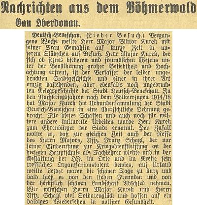 Zpráva o jeho návštěvě v rodném městečku někdy na podzim roku 1943 se zmínkou o Kurekově synovci     Franzi Schatzlovi, zastoupeném i samostatně na stránkách Kohoutího kříže