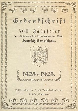 """Obálka jeho """"pamětního spisu"""" k 500 jubileu pivovaru v Německém Benešově (1923)"""