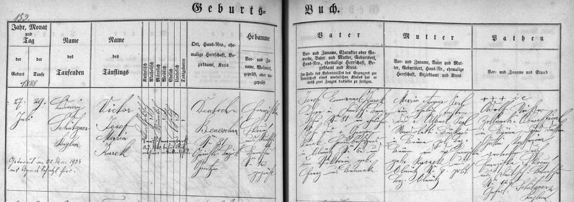 Záznam o jeho narození v křestní matrice farní obce Německý Benešov s dodatečným přípisem o Kurekově zdejší svatbě s Agnes Schatzlovou dne 25. května roku 1924
