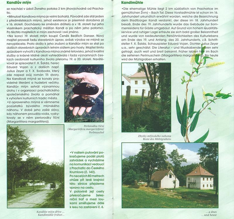 Stránky věnované Kandlovu mlýnu v turistickém průvodce z roku 2003