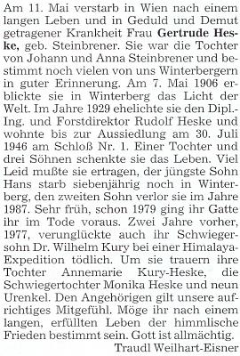 Nekrolog její maminky, jak ho do krajanského měsíčníku napsala Traudl Weilhart-Eisnerová