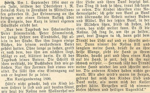 K prvému výročí Kurzova úmrtí přineslo vánoční číslo krajanského měsíčníku v roce 1954 drobný text z jeho pozůstalosti
