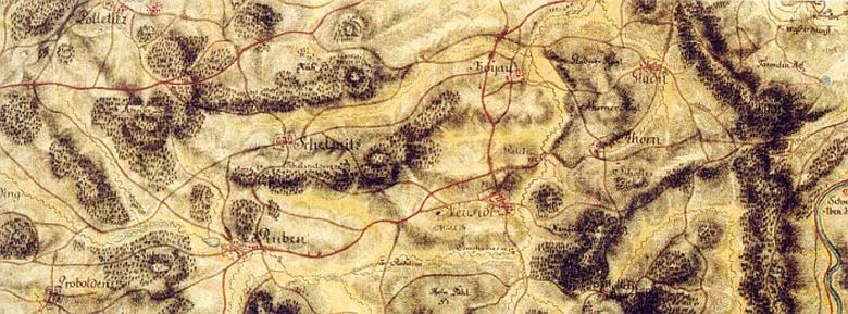 Novosedly (Neusidl) prostřed staré vojenské mapy kájovského a boletického okolí ze druhé půle 18. století