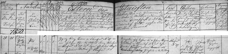 Záznam zbytinské křestní matriky o tom, že se její manžel Pius Kurz narodil 20. února roku 1850 ve stavení čp. 37 ve Zbytinách zdejšímu rolníkovi Ignazi Kurzovi (jeho otec Albert Kurz tu hospodařil předtím se svou ženou Magdalenou, roz. Stadlerovou ze Zbytin čp. 10) a jeho ženě Franzisce, dceři Johanna Wagnera ze zaniklé Horní Sněžné (Schneedorf) čp. 8 a a Marianny, roz. Jungbauerové z rovněž zaniklého  Ondřejova (Andreasberg)
