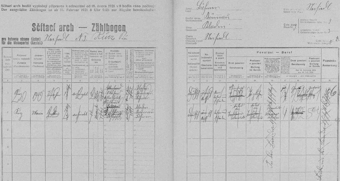 """Podle tohoto archu sčítání lidu z roku 1921 bydlili v Novosedlech čp. 3 manželé Pius Kurz, povoláním """"Gastwirt"""", tj. hostinský, a jeho choť Maria, která """"führt den Haushalt des Wohnungsinhabers"""", tj. """"vede domácnost majitele obydlí"""""""