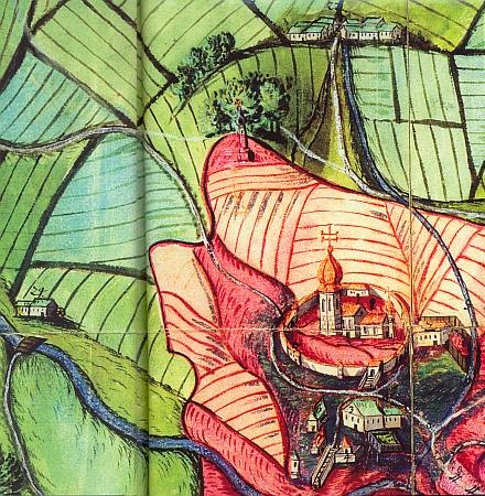 Boží muka, která stávala na cestě z Kájova do Novosedel, dnes zachycuje jen detail mapy Kájova a okolí z přelomu 17. a 18. století a snímek jejich torza ze šedesátých let osudového století dvacátého