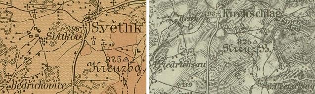 Rodný Bedřichov (byl používán i český název Bedřichovice) na výřezech z české a německé mapy z počátku 20.století...