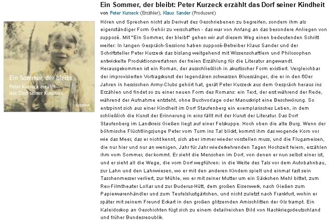 Prezentace jeho audioknihy (2007), vydané v Berlíně nakladatelstvím Supposé, na stránkách internetového knihkupectví Amazon