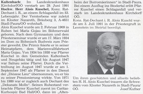 Autorem jeho nekrologu na stránkách krajanského měsíčníku se stal Josef Kufner