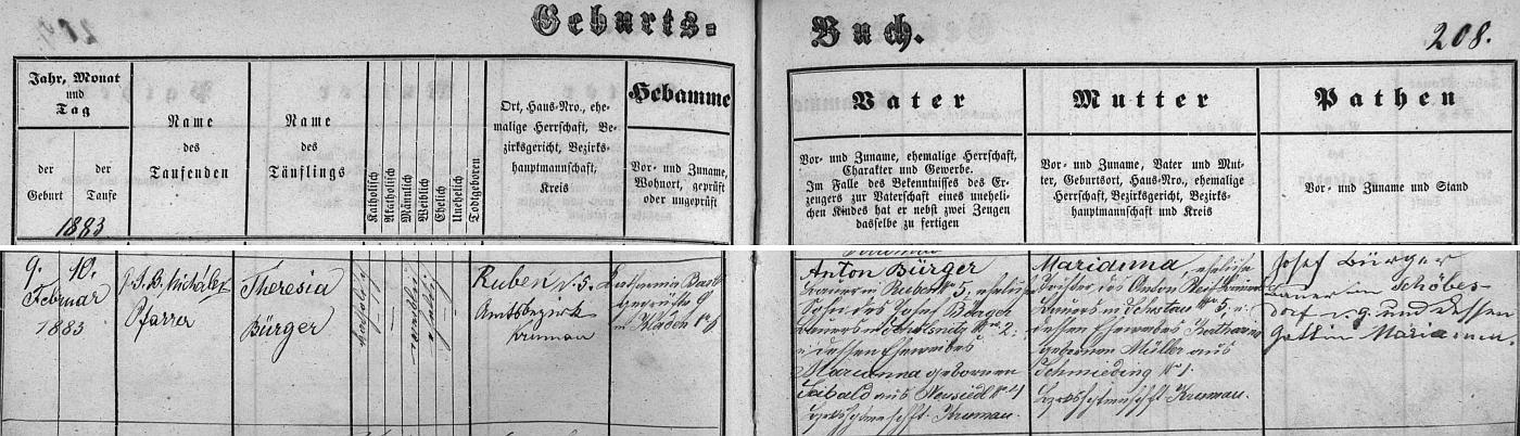 """Jen pro přesnost k textu """"O mamince"""": záznam křestní matriky o narození jeho maminky Theresie, roz. Bürgerové v Rovném (Ruben) čp. 5 svědčí o datu 9. února roku 1883 (křtil ji den nato v Kájově Johann Baptist Michálek, autor publikace o zdejším poutním místě) a šestaosmdesátin, o nichž je řeč v textu o ní z """"Glaube und Heimat"""", ročník 1967, se mohla dožít """"zakrátko"""" až roku 1969 (zemřela v roce 1972) - dovídáme se tu ostatně navíc idata jejích rodičů: otec Anton Bürger, rolník v Rovném, byl synem Josefa Bürgera, rolníka v Přelšticích (německy Schölsnitz, dnes jen část obce Kájov) čp. 2, a Marianny, roz. Seibaldové z Novosedel (Neusiedl) čp. 4, matka Marianna byla pak dcerou rolníka z Šestova (Schestau) čp. 5 aKathariny, roz. Müllerové ze zcela dnes zaniklých Kovářovic (Schmieding) čp. 1"""