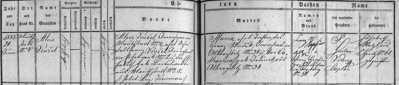 Záznam křestní matriky farní obce Hořice na Šumavě (Höritz) o narození jeho otce Aloise, psaného ještě (i později v kájovské oddací matrice) příjmením Kužel, syna podruha v Mýtě (Mauthstadt) čp. 4 Aloise Kužela (jeho otec Franz Kužel byl podruhem ve dnas zcela zaniklém Záhliní (Eisengrub) čp. 2, matka Elisabeth, roz. Bartelweberová, pocházela z Mýta čp. 8) a jeho ženy Marie. roz. Sládkové, dcery Františka Sládka, podruha zAlbrechtic nad Vltavou (Albrechtitz) čp. 34 a Kateřiny, roz. Jelínkové rovněž z Albrechtic nad Vltavou čp. 34