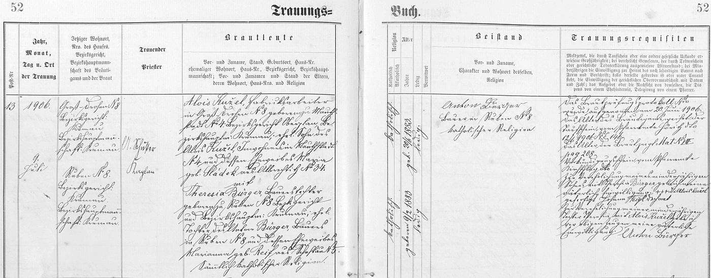 """Záznam kájovské oddací matriky o zdejší svatbě jeho rodičů dne 9. června roku 1906 - ženich byl tehdy """"továrním dělníkem"""" (v matrice """"Fabriksarbeiter""""), adresou ve dnes zcela zaniklé osadě Velké Strážné (němeky Groß-Drosen, česky i Velká Strašeň) čp. 8"""