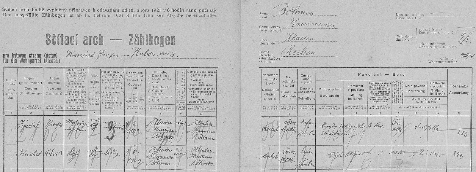 Arch sčítání lidu z roku 1921 pro stavení čp. 28 v osadě Rovné, kde tenkrát s ovdovělou už maminkou žil