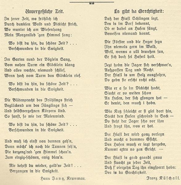 """Jednu z jeho nářečních básní s názvem """"Nejni žádná spravedlnost"""" otiskl Waldheimat vedle té od Johanna Janyho s titulkem """"Nezapomenutelný čas"""""""