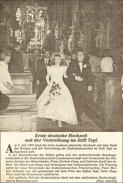 Svatba Franze Panyho v tepelském klášteře v červenci roku 1993