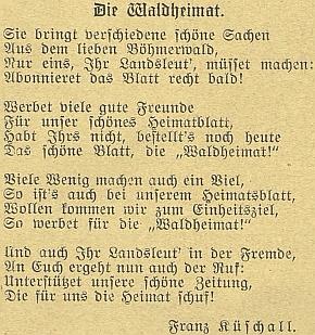 Báseň věnovaná časopisu českobudějovickému časopisu Waldheimat