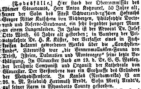 Zpráva o jeho úmrtí ve vídeňském tisku