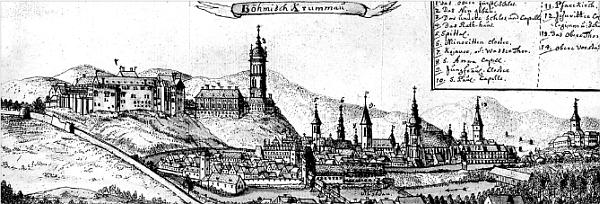 """Dvě veduty Českého Krumlova """"od jihu"""", jak město někdy kolem roku 1750 zachytil slezský kreslíř Friedrich Bernhard Werner (1690-1776),     který na svých cestách neopomněl navštívit i některé šumavské lokality"""