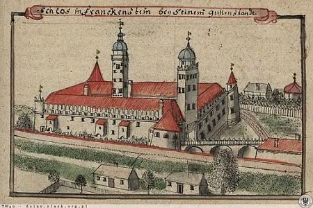 Frankensteinský zámek za časů své slávy na kresbě Friedricha Bernharda Wernera