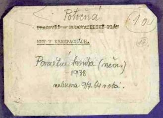 Štítek na vazbě německé pamětní knihy, nalezené v Krampachách (dnesPotočná) v roce 1964