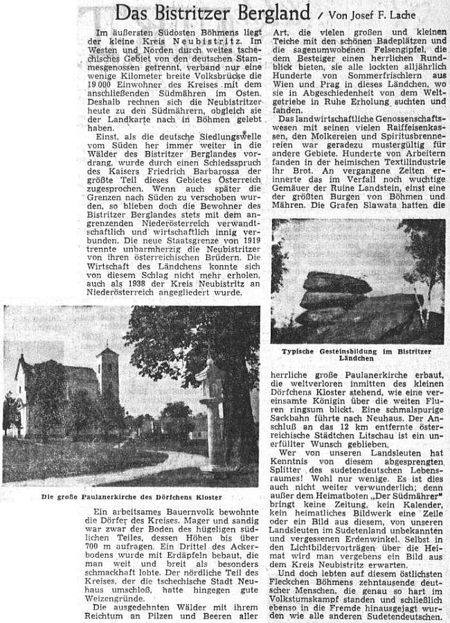 Takto se rozepsal o Novobystřické vrchovině na stránkách ústředního krajanského listu