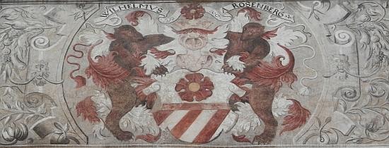 Znak Viléma z Rožmberka na prachatické radnici