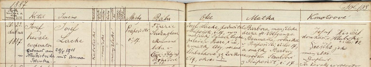Záznam o jeho narození a křtu v matrice pro obec Prapořiště s pozdějším přípisem o svatbě v Nové Bystřici