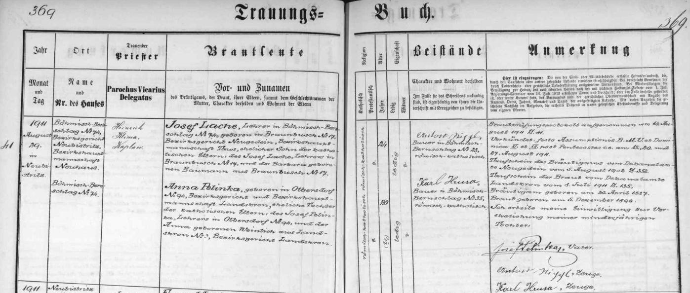 Novobystřická oddací matrika takto zaznamenává jeho zdejší svatbu v srpnu roku 1911