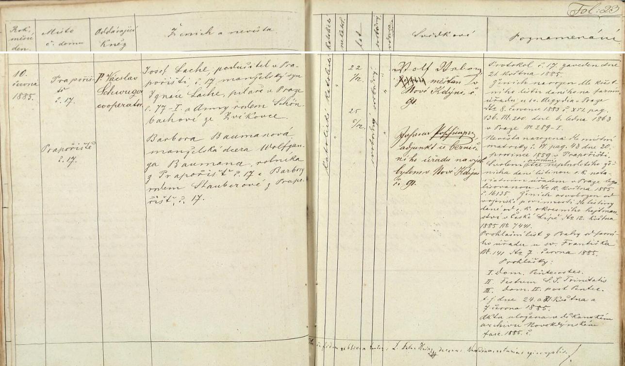 Česky psaný záznam matriky obce Prapořiště  o svatbě jeho rodičů v Kdyni 10. června roku 1885