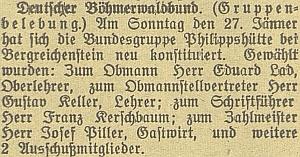 """Originál zprávy v rubrice """"Vereinsnachrichten"""" v německém českobudějovickémlistu"""