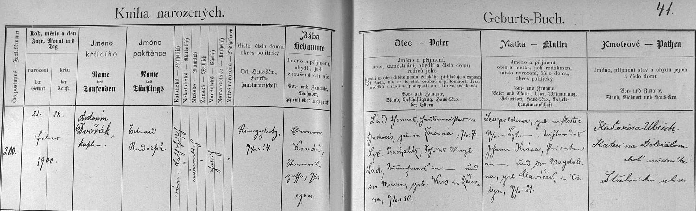 Záznam českobudějovické křestní matriky o jeho narození