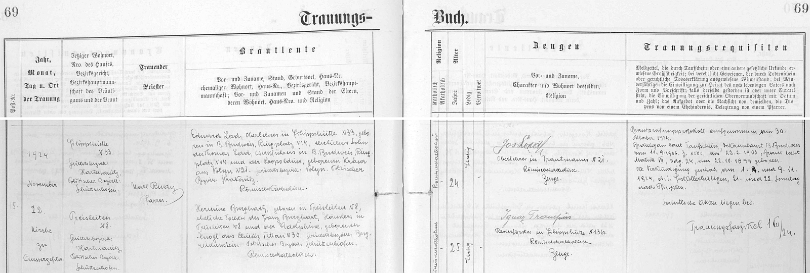 Záznam o jeho svatbě 22. listopadu 1924 na Kvildě s Hermine Burghartovou z Preisleiten (osada zanikla pod tímto německým jménem) čp. 8, dcerou tamního chalupníka Franze Burgharta a Adolphine, roz. Knoglové ze Vchynic-Tetova čp.30, svatebními svědky pak byli ženichův bratr Josef Lad (i samostatně zastoupený na webových stranách Kohoutího kříže) a revírník ve Filipově Huti Ignaz Trampus, nejmladší syn Augustina Trampuse, po němž má jméno Trampusův křížek u Březníku, zmíněný na stránkách Kohoutího kříže v textu Hanse Aschenbrennera - z nekrologu Eduarda Lada víme, že jeho žena Hermine skonala v bavorské obci Mömbris dne 30. května roku 1962 a předešla tak svou smrtí manžela o více než 20 let
