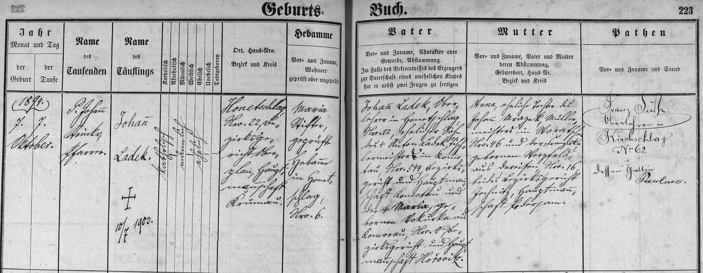 Záznam hodňovské křestní matriky o narození syna a jmenovce s daty obou rodičů