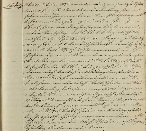 Záznam hodňovské školní kroniky k Ladekovu jmenování zdejším řídícím učitelem uvádí i jeho životopis