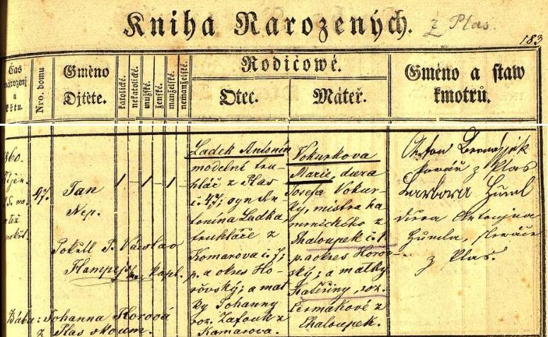 Český záznam o jeho narození v plasské křestní matrice