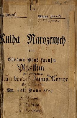 """Titulní strana """"Knihy narozených při chrámu Páně Plasském pod ochranau Nanebewzetj Panny Marye"""""""