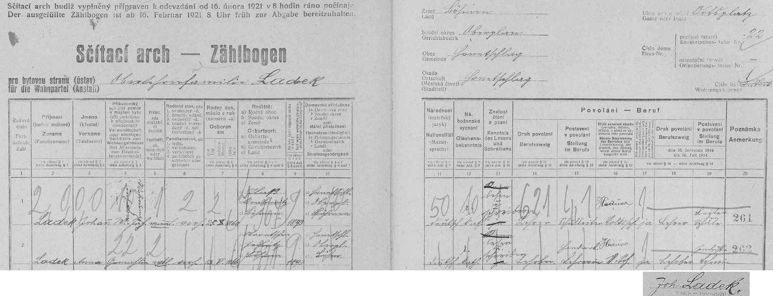 """Arch sčítání lidu pro hodňovskou adresu """"Ortsplatz Haus-Nr. 22"""" (jde o budovu školy), kde bydlil se svou ženou Annou"""