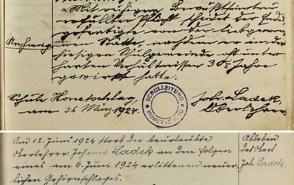 Závěr jeho posledního zápisu v hodňovské školní kronice a zápis o jeho skonu o stránku dále, provedený rukou jeho nástupce Franze Paara