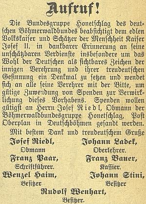 Tady je podepsán pod výzvou hodňovské skupiny Böhmerwaldbundu ke sbírce na pomník Josefa II.