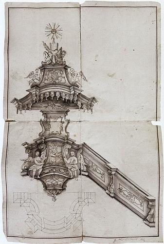 Návrh kazatelny poutního kostela ve Lštění, jednoho z nejvýznamnějších kdysi poutních míst v jižních Čechách, pochází od schwarzenberského dvorního truhláře Martina Leyera, který ho knížeti ke schválení předložil roku 1743