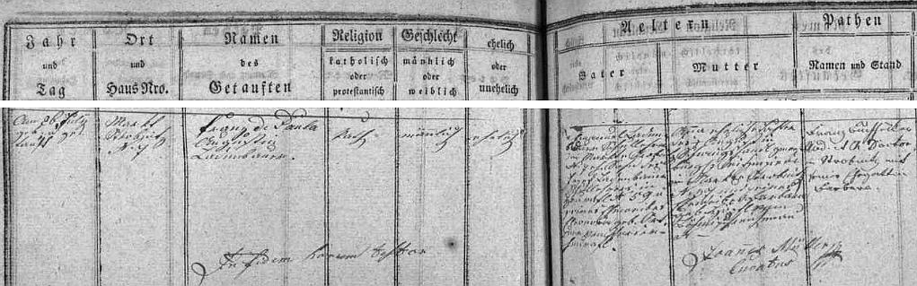 Podle záznamu v matrice farní obce Horní Stropnice narodil se tu  v čp. 7 Emanuelu Ladenbauerovi a jeho ženě Anně, roz. Schwingshandlové