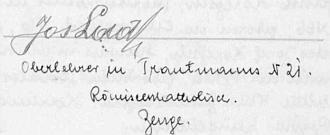 Takto je podepsán jako svědek na kvildské svatbě svého mladšího bratra Eduarda