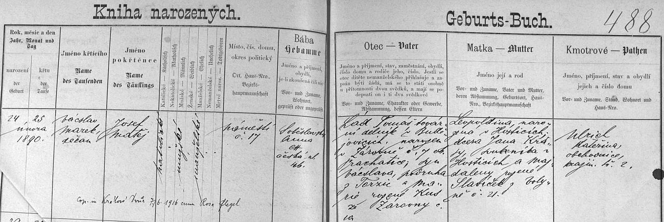Záznam o jeho narození v českobudějovické matrice s přípisem o svatbě v roce 1916 s Rosou Flegelovou