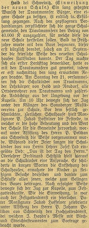 """Pro slavnostní vysvěcení nové německé školy v Trutmani (už """"za republiky"""", 21.září 1919) secvičil sesvými žáky píseň """"Das ist der Tag des Herrn"""" na slova Ludwiga Uhlanda"""