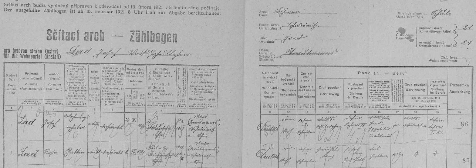 Arch sčítání lidu z roku 1921 pro školní budovu v Trutmani čp. 21 s panem učitelem Josefem Ladem a jeho ženou Rosou, roz. Flegelovou ze Záboří (Söberle) u Dvora Králové (Königinhof) - dnes patří Záboří k obci Vítězná (původně Huntířov, německy Güntersdorf)
