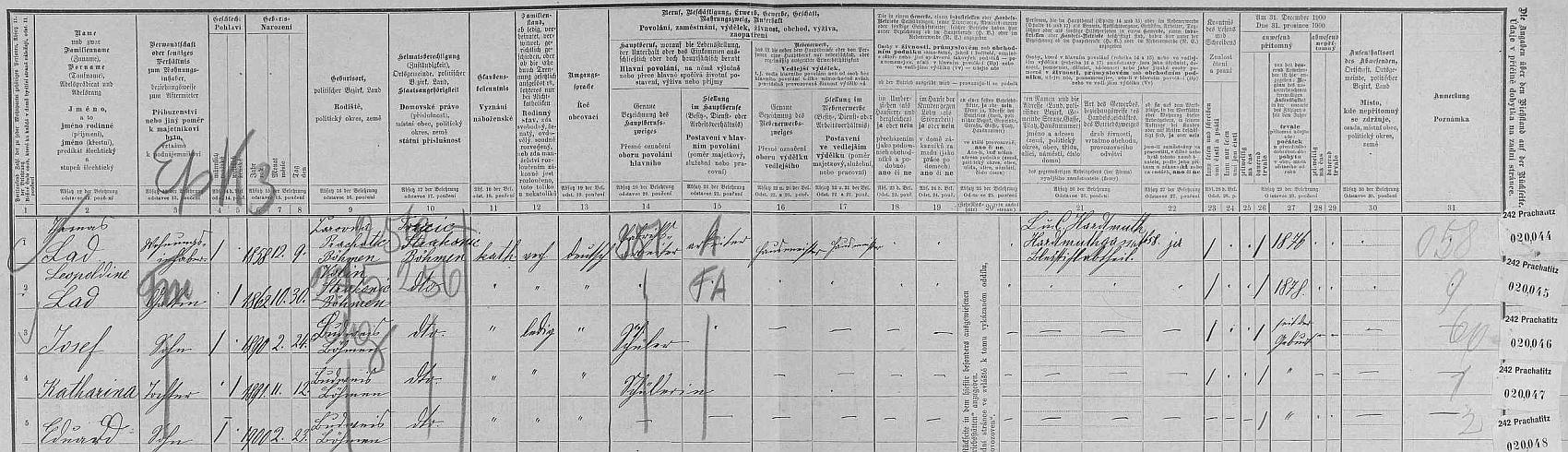 Arch sčítání lidu z roku 1900 pro dům čp. 14 na českobudějovickém hlavním náměstí (Ringplatz) s rodinou Thomase Lada včetně dvou jeho synů Josefa a Eduarda