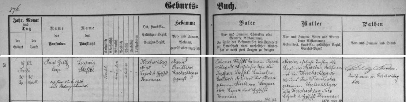 Záznam o narození Ludwiga Steffla v křestní matrice farní obce Světlík (bylo by mu v roce 1942 skutečně 40 let!), dodatečný přípis zpravuje nás i o jeho svatbě 15. června roku 1926 s Hedwig Schmiedovou