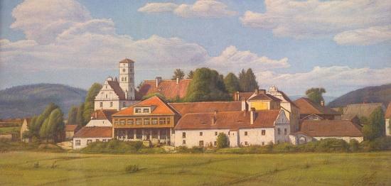 Žichovický zámek na obraze Rudolfa Béma (1874-1955), který v roce 1919 přijal jméno Vratislav Hlava