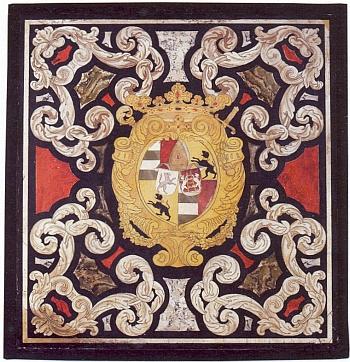 Lamberský znak na desce, uchovávané v muzeu Horního hradu (Oberhausmuseum) v bavorském Pasově apocházející někdy z konce 17. století, kdy byla zřejmě jen součástí desky psacího stolu knížete biskupa Johanna Philippa Lamberga, který získal začátkem 18. století panství Žichovice