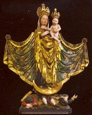 Panna Maria Nezamyslická, dřevěná plastika z doby kolem roku 1450